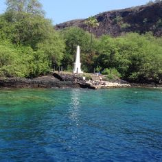 Captain Cook Monument, Kealakekua Bay, Hawaii- remember the pineapple spider in the kayak and how I was terrified of getting in it?