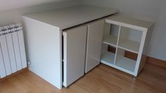 Make a Compact Rolling Library with Two Pieces of IKEA Furniture Expidit + Linnmon table top