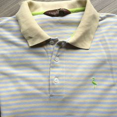 Taylorbyrd mens rugby polo golf shirt light blue yellow stripes large | eBay