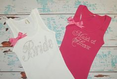 2 Bride and Maid of Honor or other writing Bride Bow Bridal Shirt Bridesmaid. Bride, Wedding Gift on Etsy, £18.39