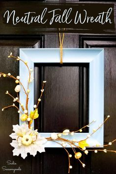 Neutral fall decor is perfect for the time of year between October and Christmas. And this picture frame wreath is easy and simple to make in neutral fall colors! So head over to your local Goodwill for the perfect frame! #pictureframewreath #neutralfalldecor #neutralfallwreath #neutralfall #DIYfallwreath #DIYfalldecor #bluefalldecor #whitepumpkins Picture Frame Wreath, Old Picture Frames, Cork Board Projects, Diy Craft Projects, Diy Fall Wreath, Fall Diy, Wreath Ideas, Blue Fall Decor, Diy Halloween Food