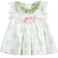 Monnalisa Baby Girls White Blouse with Green Polka Dots at Childrensalon.com