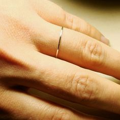Thread of Silver  Tiny Halo Hammered Stack Ring  by MARYJOHN, $7.75