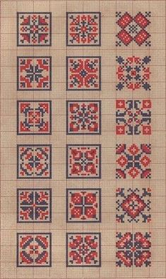 Wouldn't these be great biscornus! Cross Stitch Borders, Cross Stitch Samplers, Cross Stitch Charts, Cross Stitch Designs, Cross Stitching, Cross Stitch Patterns, Loom Patterns, Folk Embroidery, Cross Stitch Embroidery