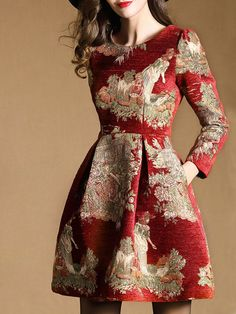 Red Floral Long sleeve A-line Jacquard Cotton-blend Mini Dress