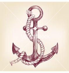 Anchor hand drawn llustration vector on VectorStock