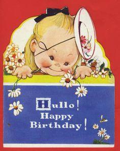 Birthday Card - Girl w Flowers
