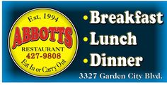 Abbotts Restaurants 3327 Garden City Blvd 540- 427-9808  For a great place to eat, good people and one of the best carry out places I have c...