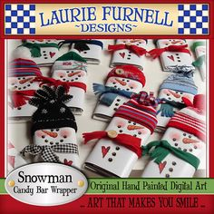 Snowman Candy Bar Wrapper Laurie Furnell by lauriefurnelldesigns