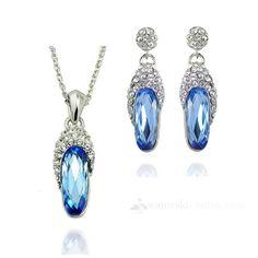 Angels carry out light blue Elements Set Swarovski Crystal Neckl