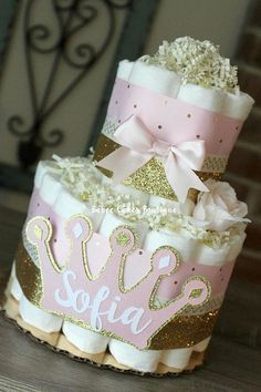 2 Tier Pink and Gold Princess Diaper Cake Princess Baby