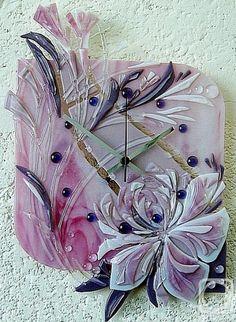 """Репина Алёна. Настенные часы """"Розовый пион"""" стекло, фьюзинг"""