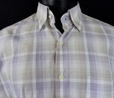 Peter Millar Mens L Casual Shirt Hidden Button Collar White Purple Beige LS EUC #PeterMillar #ButtonFront