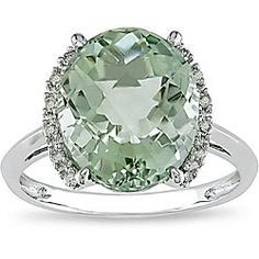 @Overstock.com - Miadora 10k Gold Green Amethyst and Diamond Ring - Green amethyst and diamond ring10-karat gold jewelryClick here for ring sizing guide  http://www.overstock.com/Jewelry-Watches/Miadora-10k-Gold-Green-Amethyst-and-Diamond-Ring/4427043/product.html?CID=214117 $169.19
