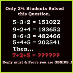 Difficult & Interesting Math Puzzles - Only for Genius Math Puzzles with Answer!  Welcome Back! Here is an another interesting Math Puzzle I Got! Solve This Tough & Hard Math Riddles and comment your answer.    Solve this