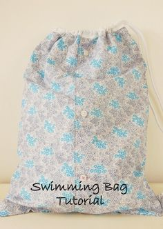 Make a drawstring waterproof bag from an old shirt and a shower curtain.