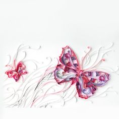 Purple Red Flowers And Butterfly Quilling Paper Creation DIY Kit