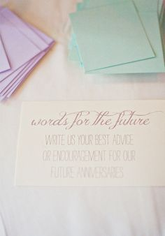 words of advice to the couple to be opened on their 1st, 5th, 10th and 25th wedding anniversaries. such a great idea  Photography by amandakphotoart.com,