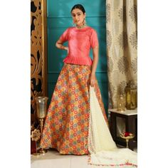 Designer multicolored jacquard ceremonial lehenga choli Bridal Lehenga, Lehenga Choli, Party Wear Indian Dresses, Jacquard Fabric, Dress Patterns, Photoshoot, Silk, Skirts, How To Wear