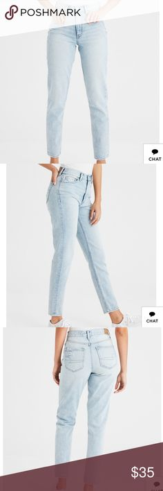 AEO LIGHT WASH MOM JEANS NEW IN PACKAGING! AEO light vintage wash denim mom jeans! Adorable & fit just like vintage jeans without having to search for hours in a thrift store!  ⭐️SIZING: These jeans are a size 4 long, but fit like loose 2 Regular or a true to size 4 Regular. The Regular jeans are cropped so I️ bought the long size which makes them hit at the ankle like authentic mom jeans! ⭐️ I️ WILL POST REAL PICTURES UPON REQUEST AS THEY ARE STILL IN ORIGINAL PACKAGING! :) American Eagle…