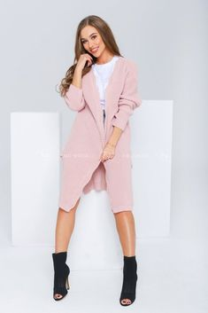 Ružový dámsky kardigán Mirelia Shirt Dress, Sweaters, Shirts, Dresses, Fashion, Vestidos, Moda, Shirtdress, Fashion Styles