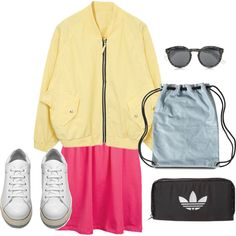 colors by vicki-shiu on Polyvore featuring ONLY, Acne Studios, adidas Originals, Illesteva, Pink, adidas, backpack and colorful