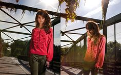 Fucsia shirt with ruffle and green trousers - Women's Spring Summer '12 Catalog Model: Alexandra Tomlinson