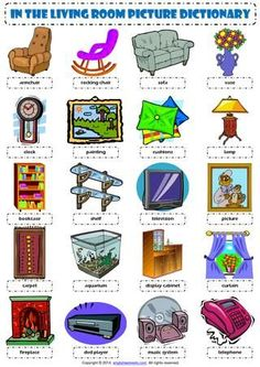 English Vocabulary - in the living room - Inglés