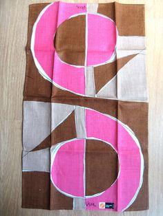 Geometric. Vtg Vera linen kitchen towel MWT. by fuzzandfu on Etsy, $46.00