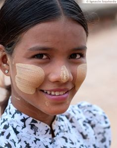 """Myanmar:  Most Women & Children use """"Thanaka"""" a fragrant paste made from the ground bark of the Thanaka tree, as a cosmetic & skin treatment.  Used to cool the skin as a sunblock."""