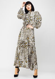 A versatile addition to your wardrobe, this cream long sleeve maxi dress from Setre would look great worn with a leather jacket and boots for day or n Animal Print Maxi Dresses, Looks Great, Leather Jacket, Gowns, Sleeves, Color, Clothes, Women, Style