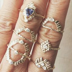 Stacked gold and gemstone rings!