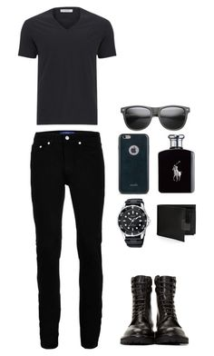 """Blackass"" by nabilci on Polyvore featuring Versace, Wood Wood, Yves Saint Laurent, Perry Ellis, Moshi, Ralph Lauren, men's fashion and menswear"