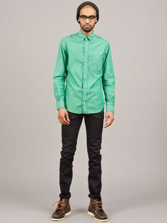 Frances May - Gitman Vintage Bright Green Chambray