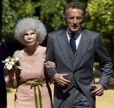"""Duchess of Alba (one of her many, many, many titles), María del Rosario Cayetana Fitz-James Stuart y Silva, 18th Duchess of Alba de Tormes, 85 , got married to her civil servant """"Boy Toy"""", Alfonso Diez, who happens to be 60. This is her third wedding"""