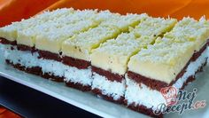 Coconut slices with yolk cream - Czech Desserts, Slovak Recipes, Coconut Slice, Coconut Cream, Oreo Cupcakes, Party Buffet, Wedding Desserts, Food Hacks, Vanilla Cake
