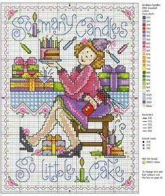 0 point de croix femme et gateau anniversaire - cross stitch woman, lady and birthday cake