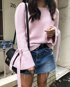 Kind of sunny, kind of chilly? Opt for a chunky sweater and a denim mini. Let Daily Dress Me help you decide what to wear based on the weather! dailydressme.com