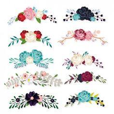 Colección de ornamentos florales