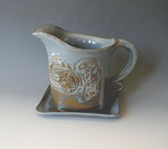 Lace Impressed Ceramic Gravy Boat by blueheronpottery on Etsy