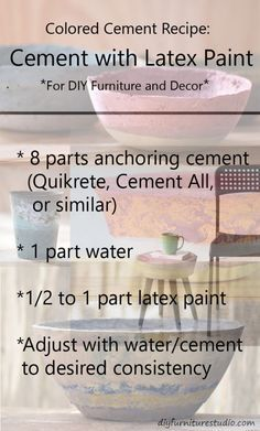 Recipe for Latex Paint-Tinted Cement Furniture and Decor. Also check out the DI. - Recipe for Latex Paint-Tinted Cement Furniture and Decor. Also check out the DIY Furniture Studio - Cement Color, Cement Art, Concrete Cement, Concrete Crafts, Concrete Planters, Paint Cement, Polished Concrete, Wall Planters, Succulent Planters
