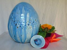 Giant ceramic egg sculpture lamp. You can choise between B-EGG and Cosmic Egg. Handmade and hand painted. Artisitc Vietri pottery by PulcinellaCeramics on Etsy