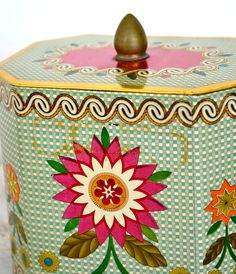 Bright Spring Flower Tin by anestamoby on Etsy, $18.00