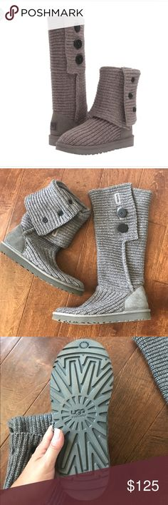 UGG Cardy boot - grey - women's size 10 This hurts my heart to do it.  I searched for months for these boots in a size 10.  Found them, bought them.  Got them home and they were just big enough to not be comfortable  I needed to size down, not up as usual ‍♀️ they have never been worn.  They have been sitting in my closet for over 6 months needing to be freed! The inside sole is this super soft, warm fur... UGG Shoes Winter & Rain Boots