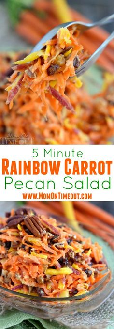 5 Minute Rainbow Carrot Pecan Salad
