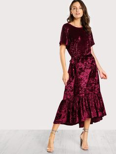 Shop V Back Ruffle Dip Hem Crushed Velvet Dress online. SheIn offers V Back Ruffle Dip Hem Crushed Velvet Dress & more to fit your fashionable needs. Hi Low Dresses, Short Sleeve Dresses, Summer Dresses, Party Dresses, New Dress, Dress Up, Velvet Bridesmaid Dresses, Kurta Designs Women, Velvet Fashion