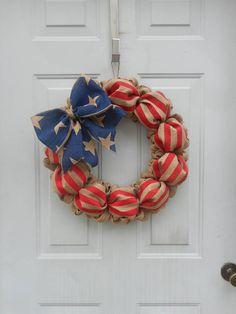 Americana wreath Americana burlap wreath American flag wreath