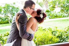 The kiss! Destination Wedding at Sandals Antigua Visit http://www.brides-book.com for more great wedding resources
