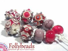 Handmade Lampwork Artisan glass bead set in Ivory Reds and