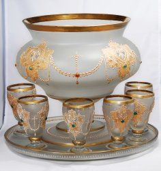 Bohemian Punch Bowl Set Circa 1860 - 1880. (Possibly by Harrach)